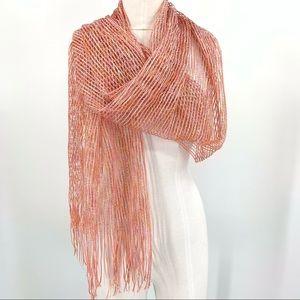 Sparkly Pink Open Knit Lightweight Fringe Scarf